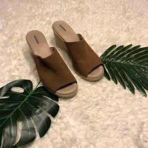 Brown Leather Espadrille Wedge Mule Heels